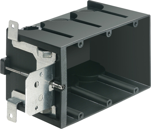 "Non-Metallic box for new construction. Adjustable for wall thicknessess from 1/4"" to 1-1/2"". Three Gang, Vertical, 65.0 cu."