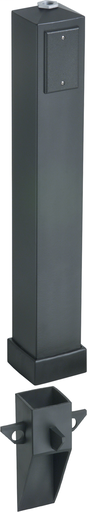 """Gard-N-Post. 37"""" support for outdoor light fixtures or GFCI devices outdoors. Opennings on both sides of post for back to back power or power on one side and low voltage on the other. Built in stablaizers need to assembly. Opennings in stabalizers allow f"""
