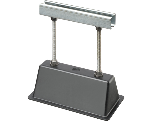 "Roof Topper, supports and raises conduit or raceway 12"" off the roof surface. Made of 100% UV resistant recycled material. Supports up to 2000lbs. 9"" strut."