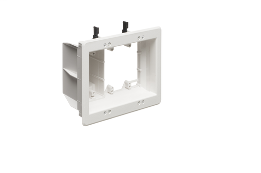 Recessed Plastic TV BOX. For new or existing construction. Comes with low voltage divider. Color White. 3 Gang.