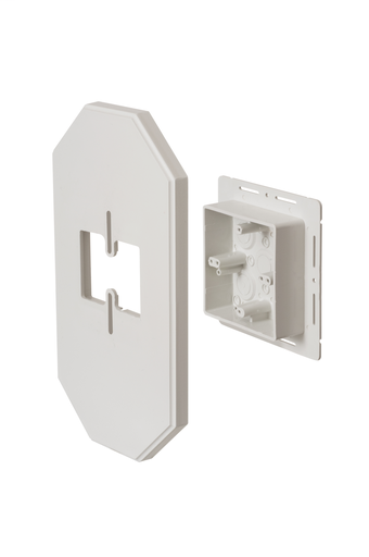Works on all siding types. Before or after siding is up, Mounting holes on inside of box. Textured paintable surface. NM cable connector provided. 13-1/2 x 7.12 mounting surface. Provides a .925 J-channel. 24.5 cubic inch box.With Flange