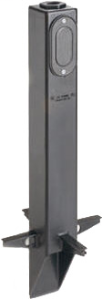 """Gard-N-Post. 19.5"""" support for outdoor light fixturess. Built in stablaizers need to assembly. Opennings in stabalizers allow for insertion of extra support material. Angle Cut post for easy acces to unground wiring. one 1/2"""" Knockout to cover photocell i"""