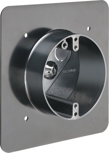 Non Metallic flanged fixtured hand box. For New construction. For 5/8 wall finish thickness can convert up to 7/8 wall finish thickness. Flange on box can be offset locating back panel to opposite side of the box to create large 20 cu. in volume.