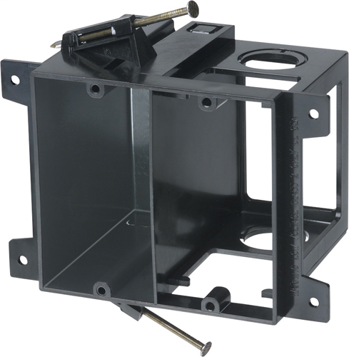 """Mayer-Power and low voltage box for new construction, nail on. Low voltage side provides combination 1/2"""" and 3/4"""" knockout. 2 hour fire rating. 20 cu. in.-1"""