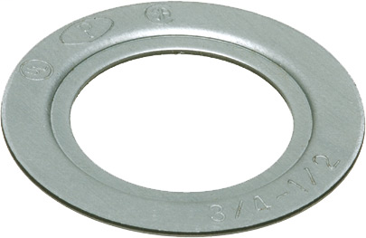 """Reducing Washer, Plated Steel. Reduces 1-1/2"""" knockout to 3/4"""" knockout. (ARL RW8 1 1/2 X 3/4 RED WASHER)"""