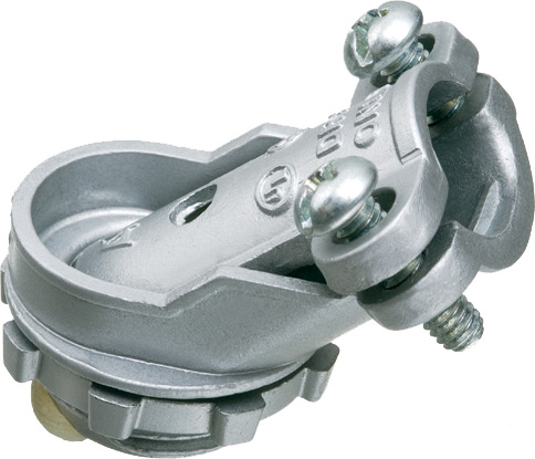 Mayer-Zinc die-cast, 1/2 Knockout, 45 degree angle cable connector for aluminum and steel cable. Concrete tight when taped. Secures into knockout with zinc diecast locknut.-1