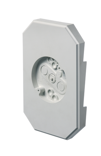 """Siding mounting kit with built in electrical box. 6.8 cubic inch box.Kit includes NM cable connector. 4 mounting screws. For 1/2"""" lap siding double 4"""". 6.9 x 10.2 mounting surface."""