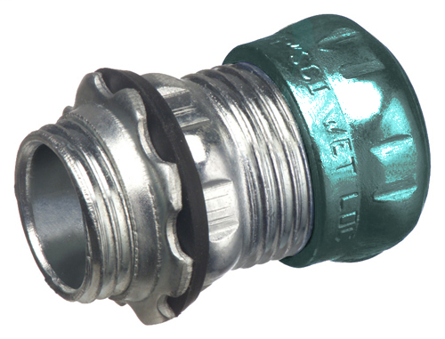 "Steel EMT compression connector. concrete tight and rain tight. Trade Size 1""."