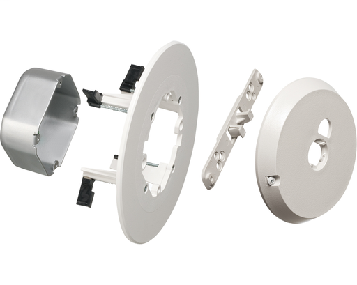 """CAM-BOX kit for installation of security camera. Steel, 17.0 cu. Rated up to 50lb on suspended ceiling or drywall in combination with dropwire. Installs with 4"""" hole saw. Rated 10lbs on drywall ceilings without dropwire. Rated 7lbs on walls. Box has 1/2"""""""