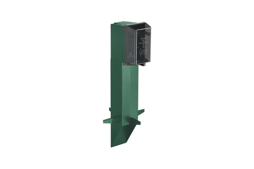 """Gard-N-Post. 19.5"""" support for GFCI devices outdoors. Built in stablaizers need to assembly. Opennings in stabalizers allow for insertion of extra support material. Angle Cut post for easy acces to unground wiring. two 1/2"""" Knockouts. Color Green. Color i"""