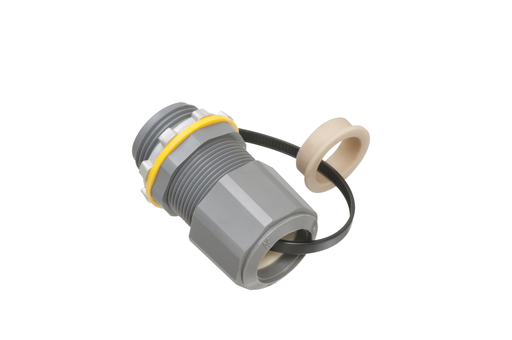 Low-profile non-metallic, liquid-tight, oil-tight, and gray strain relief cord connector furnished with a sealing ring and locknut. Supports .385 to .750 cord range with a 3/4 inch trade size.