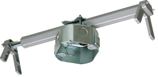 """Mayer-Steel fan and fixture box with adjustable mounting bracket for exisiting construction. Adjusts from 16"""" to 24"""" on center spacing. 2"""" deep box. 20.0 cu.-1"""
