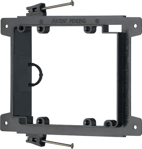 Mayer-Nail on, Two gang, Low Voltage mounting bracket for new construction on wood studs. Built in loop to tie off cable.-1