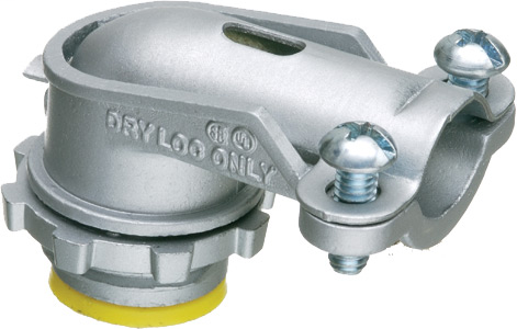 """Mayer-Zinc die-cast, 90 degree 2 screw flex connector for aluminum and steel Flex. Secures into a 1/2"""" Knockout with a diecast locknut. Accommodates cable range .830 to 1.085. Insulated throat-1"""