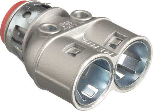 """Mayer-Duplex zinc die-cast, 3/8"""" Knockout MC cable connector snaps quickly on to the conduit with an internal spring steel clip and then snaps into knockout with an external spring steel clip, no tools required. Concrete tight when taped. Provided with insulated throat.-1"""