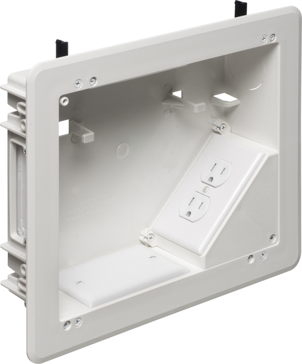 """Mayer-8 x 10 Plastic TV BOX BRIDGE kit. Includes line voltage box, duplex receptacle. 1-1/2"""" knockout, cable entry device, wire management brackets. For new and old construction.-1"""