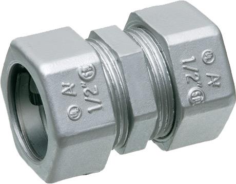 "Zinc die-cast EMT compression coupling. Concrete tight and rain tight. Trade Size 1""."