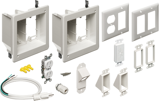 TV BRIDGE KIT. Kit includes (2) recessed power and low voltage power boxes and all the connections you need to bridge power from one stud bay to the next.