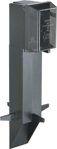 """Mayer-Gard-N-Post. 19.5"""" support for GFCI devices outdoors. Built in stablaizers need to assembly. Opennings in stabalizers allow for insertion of extra support material. Angle Cut post for easy acces to unground wiring. two 1/2"""" Knockouts. Color Black. Color is permanent, no chipping. Clear extra duty weatherproof in use cover installed.-1"""