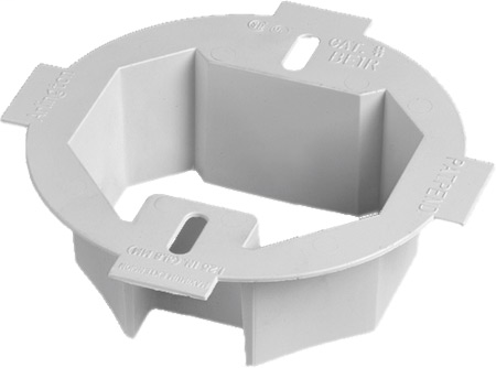 """Mayer-Ceiling Box extender. for setback ceiling boxes. Fits 3-1/2 and 4"""" round octagul boxes. Extends box up to 1-1/2 and has 2 hour fire rating.-1"""