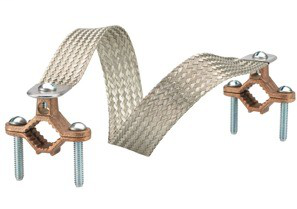 """BRIDGEPORT Copper clamps with 18"""" tinned copper braid. Braid equivalent to 4 GA,- 4"""" movement"""