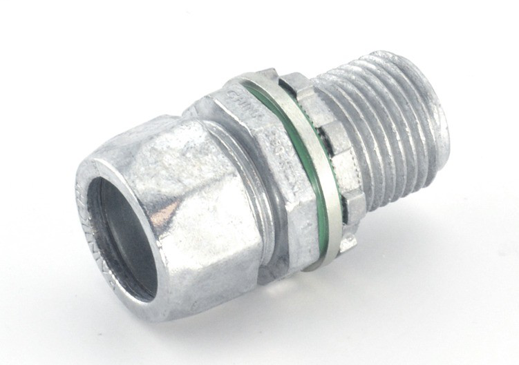 """1/2"""" Raintight Compression Connector with Extra Long Threads"""