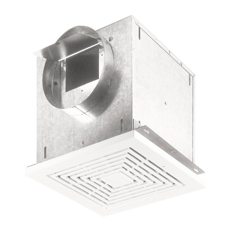 Broan L100 1.1 Amp 120 VAC 109 CFM 0.7 Sones 14 Inch White Polymeric Square Grille Ceiling Mount Ventilator