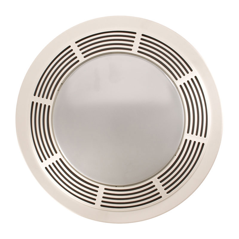 BROAN Fan/Light/Night-Light, Round White Plastic Grille With Glass Lens, 100 CFM
