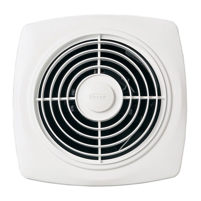 "BROAN 8"" 180 CFM Through Wall Ventilation Fan, White Square Plastic Grille"