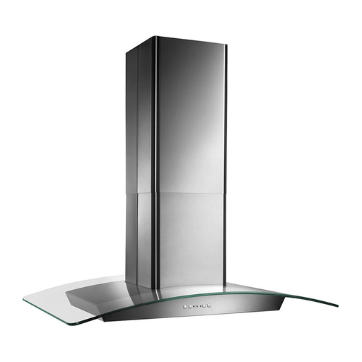 "BRO EI5936SS 35-3/8"" ELITE ISLAND CHIMNEY HOOD STAINLESS STEEL WITH CURVED GLASS"
