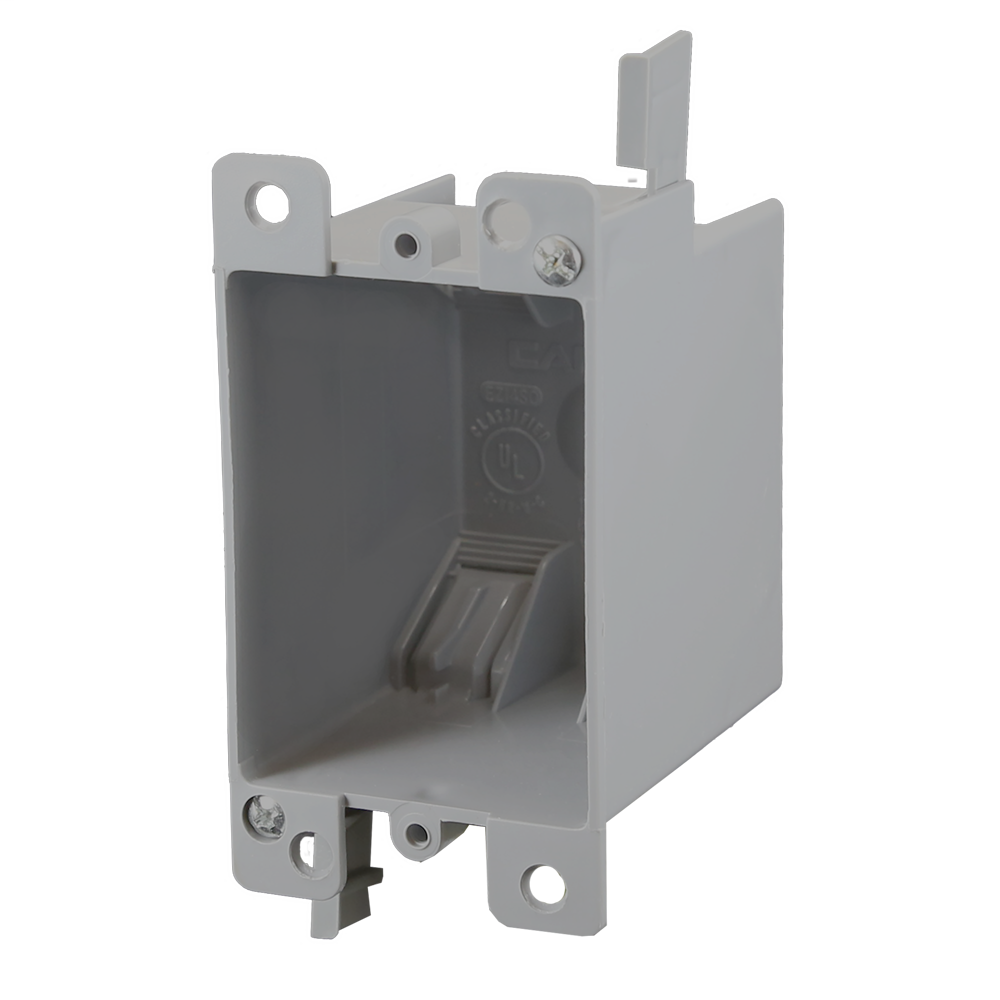 1-Gang 14 cu. in. EZ BOX Old Work Residential Electrical Switch and Outlet Box with EZ Mount Clamps and Wire Clamps Gray