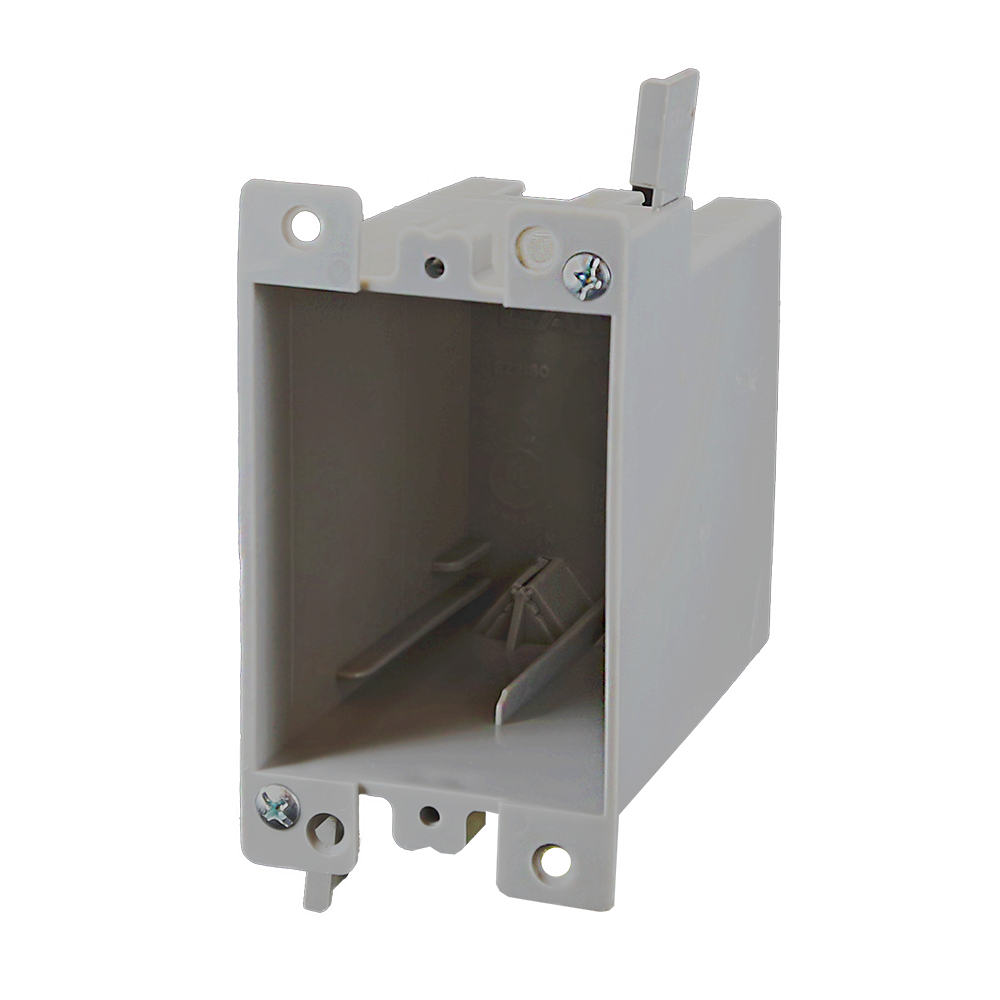 1-Gang 21 cu. in. EZ BOX Old Work Residential Electrical Switch and Outlet Box with EZ Mount Clamps and Wire Clamps Gray