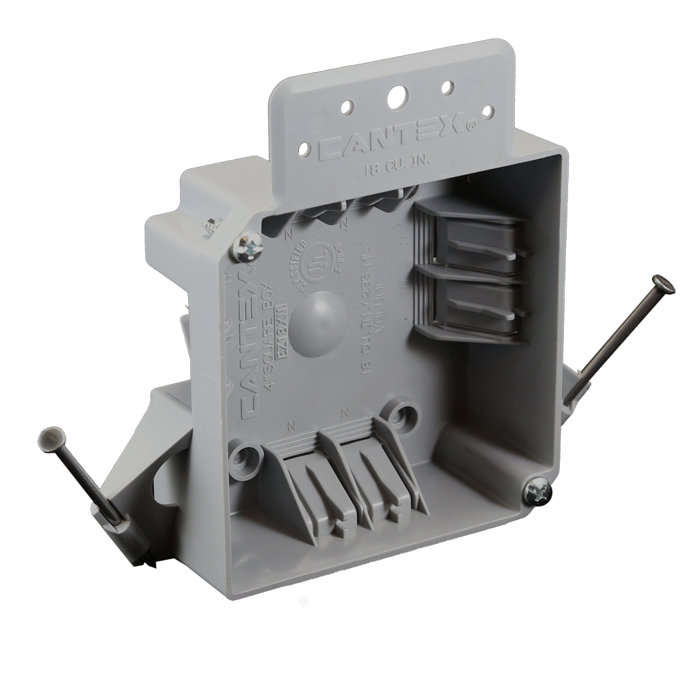 18 cu. in. 4 in. Square EZ BOX New Work Nail-on Residential Electrical Box with Wire Clamps Gray