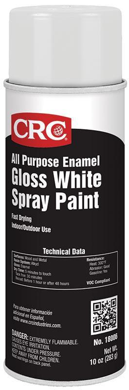 CRC Industries 18006 16 oz Aerosol Gloss White Enamel Spray Paint