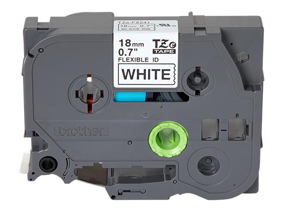 """BTH 18mm (0.7"""") Black on White Flexible ID Tape, 8m (26.2 ft)"""