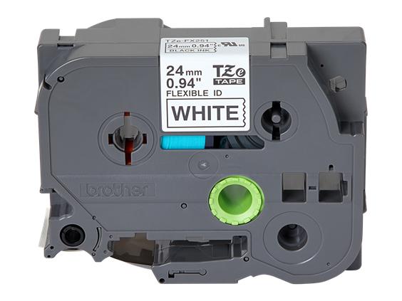 """BTH 24mm (0.94"""") Black on White Flexible ID Tape, 8m (26.2 ft)"""