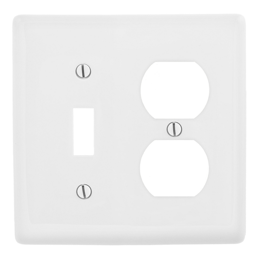 Hubbell Wiring Devices NP18W 2-Gang White Nylon Standard 1-Toggle Switch 1-Duplex Receptacle Combination Wallplate