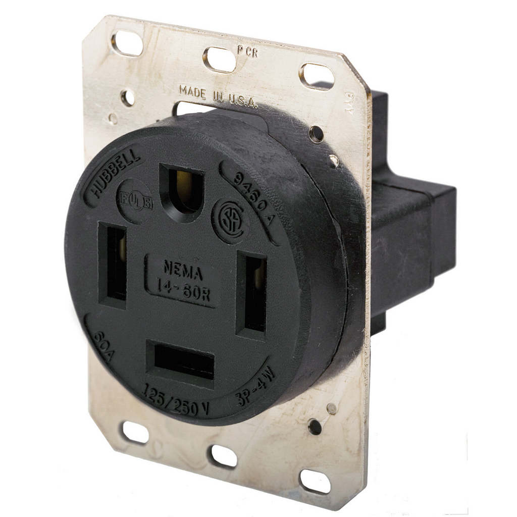 Hubbell Wiring Devices HBL9460A 60 Amp 125/260 Volt 3-Pole 4-Wire NEMA 14-60R Black Straight Blade Receptacle