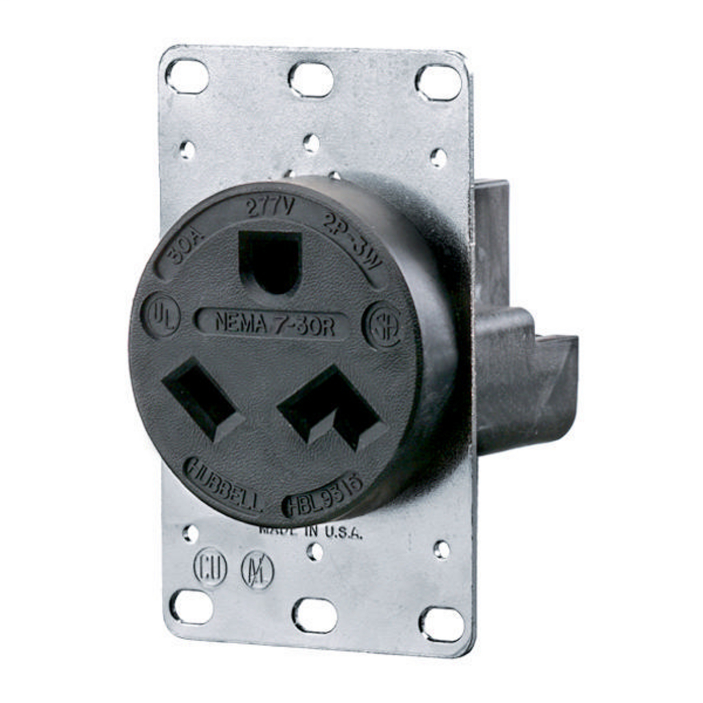 Hubbell Wiring Devices HBL9315 30 Amp 277 Volt 2-Pole 3-Wire NEMA 7-30R Black Straight Blade Receptacle
