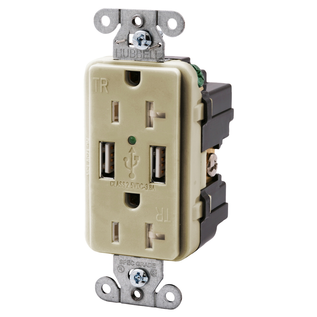 Hubbell Wiring Devices USB20X2I 20 Amp 125 Volt 2-Pole 3-Wire NEMA 5-20R Ivory Decorator Duplex USB Charger Receptacle