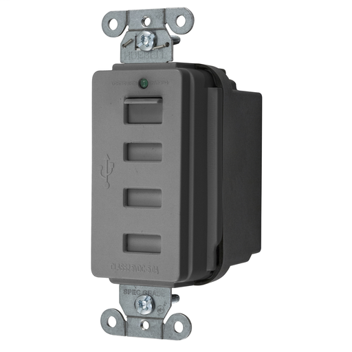 HUBW USB4GY 5A 5V USB OUTLET CHARGER