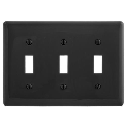 Hubbell Np3bk Black 3gang Switch Plate Nylon