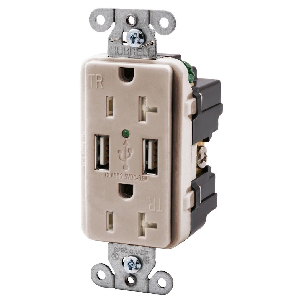 Hubbell Wiring Devices USB20X2LA 20 Amp 125 Volt 2-Pole 3-Wire NEMA 5-20R Light Almond Decorator Duplex USB Charger Receptacle