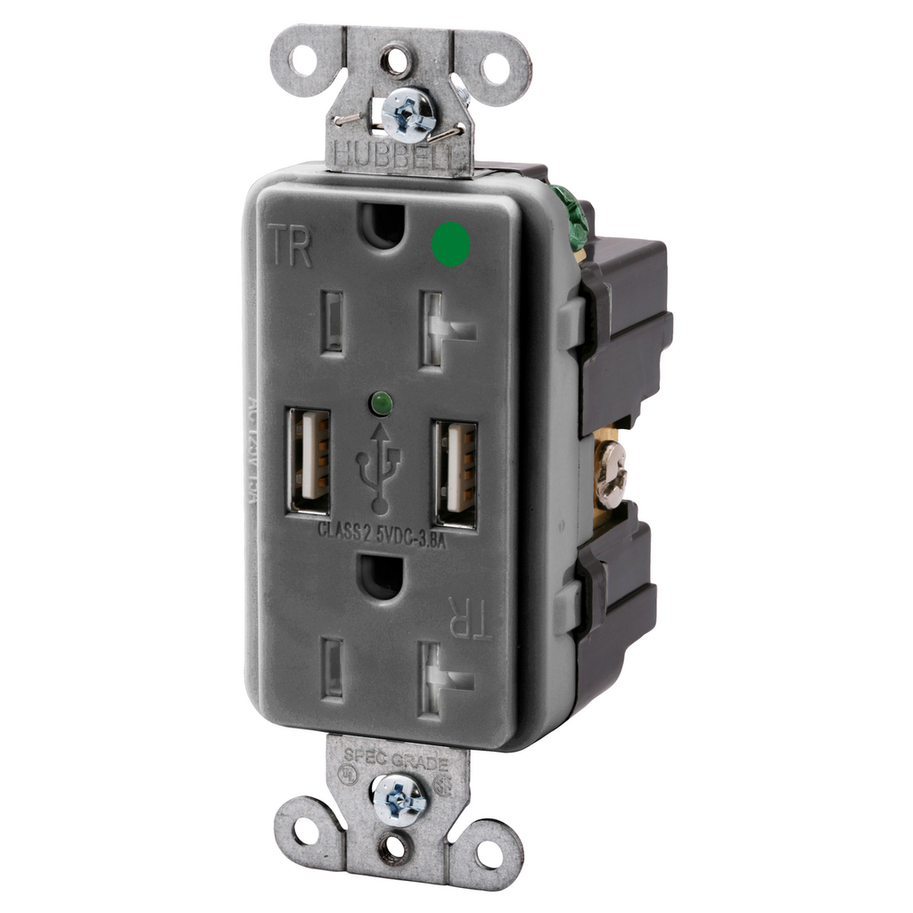 HCI USB8300GY RECEP, DUP, HG, 20A 1