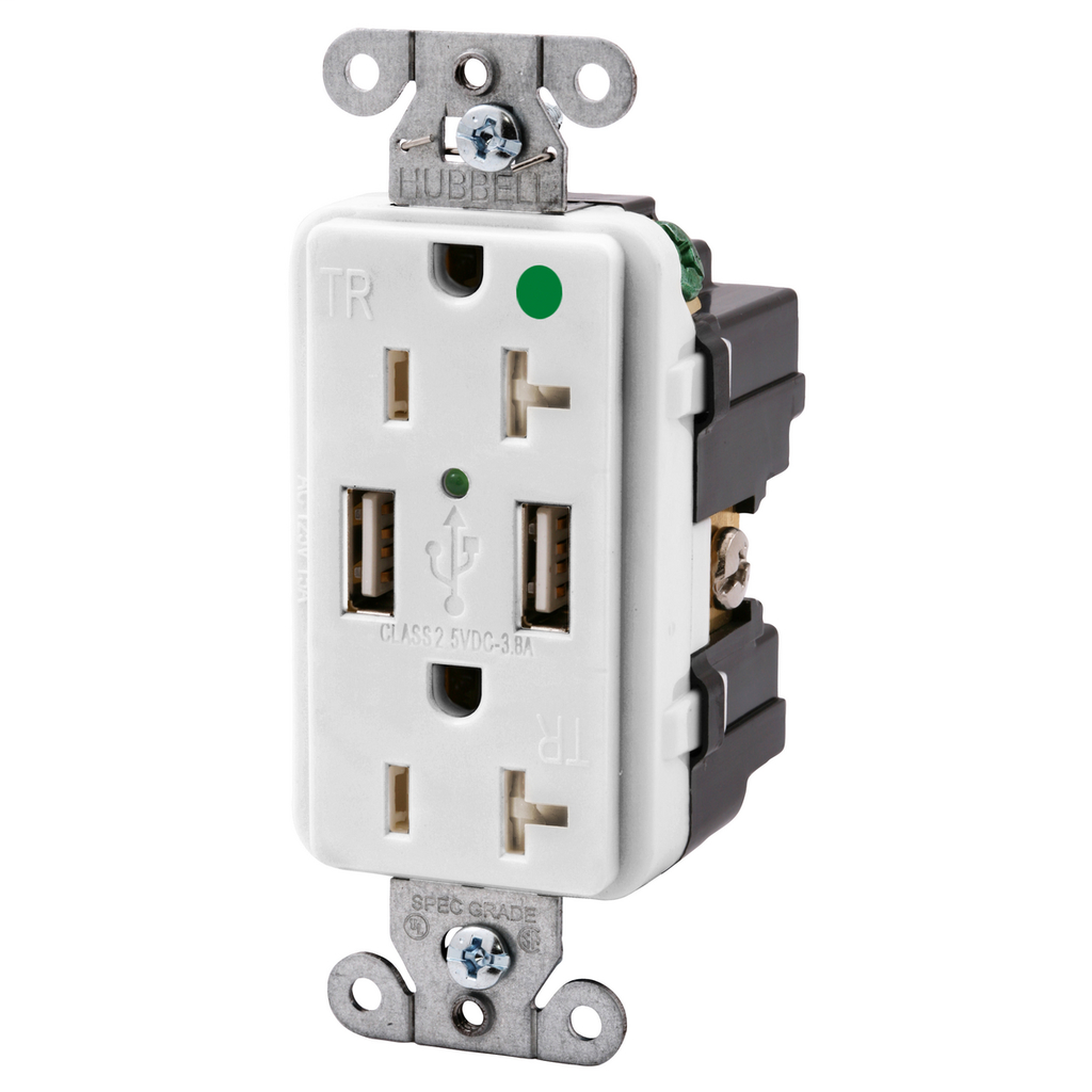 Hubbell Wiring Devices USB8300W 20 Amp 125 Volt 2-Pole 3-Wire NEMA 5-20R White Decorator Duplex USB Charger Receptacle