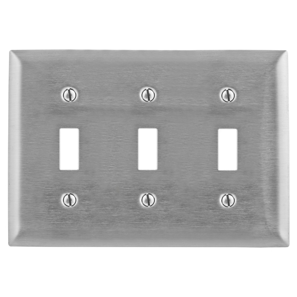 Hubbell Wiring Devices SS3L 3-Gang Stainless Steel 3-Toggle Switch Screw Mount Wallplate