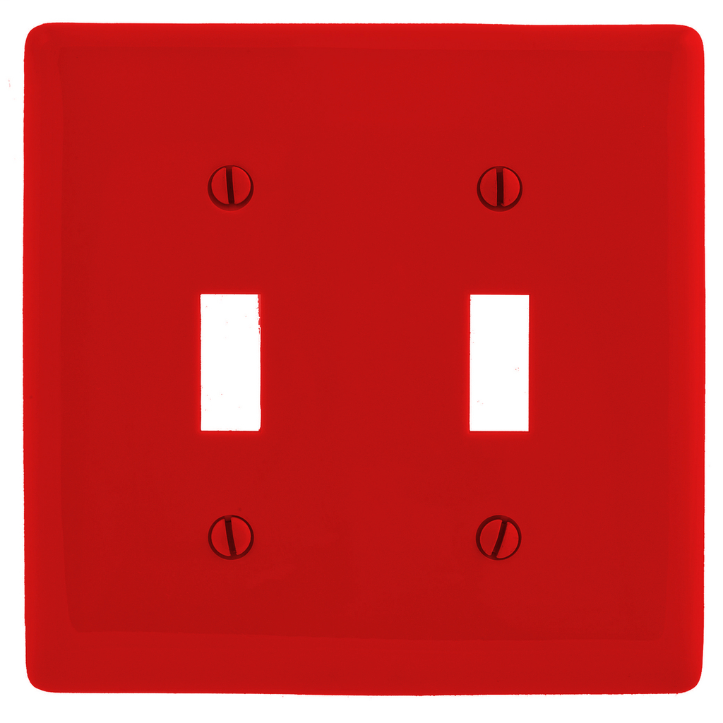 Hubbell Wiring Devices NP2R 2-Gang Red Nylon Standard 2-Toggle Switch Wallplate