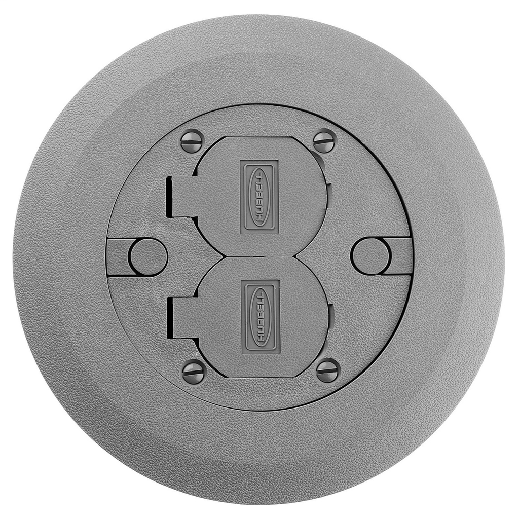 Hubbell Wiring Devices PFBCGYA 6.25 Inch Gray Non-Metallic Round Multi-Service Cover and Flange Assembly