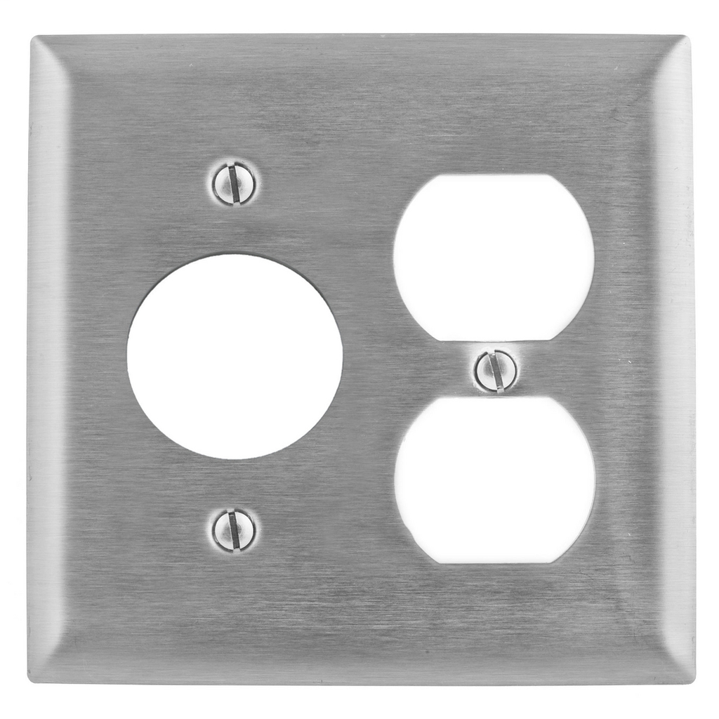 Hubbell Wiring Devices SS8720 2-Gang Stainless Steel 1-Duplex 1-Single Receptacle Screw Mount Combination Wallplate