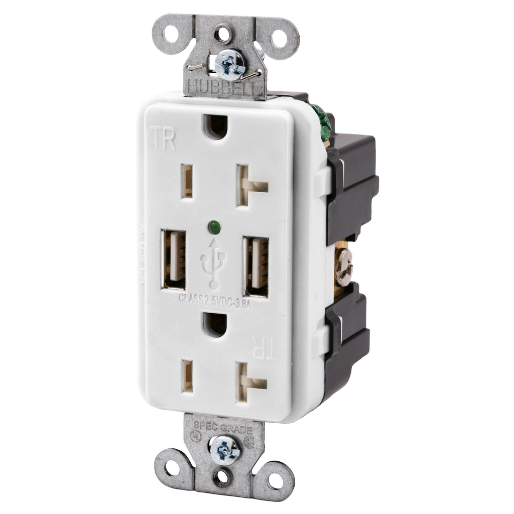 Hubbell Wiring Devices USB20X2W 20 Amp 125 Volt 2-Pole 3-Wire NEMA 5-20R White Decorator Duplex USB Charger Receptacle